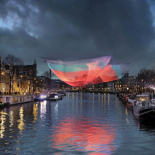 Artwork over a canal in Amsterdam